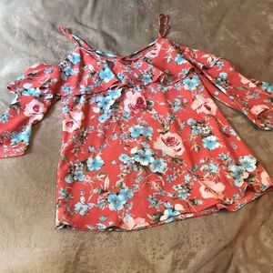 Cold Shoulder Floral Blouse w/ Ruffle